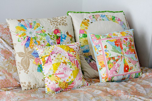 Things to sew - vintage sheet patchwork cushions