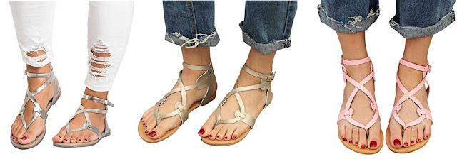 sandalias romanas de colores