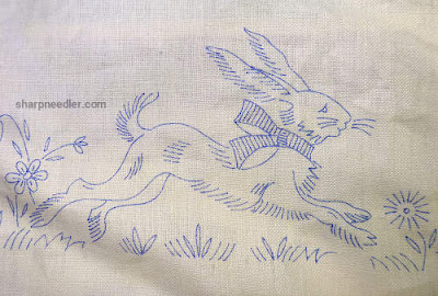 Easter rabbit on vintage table runner (to embroider)