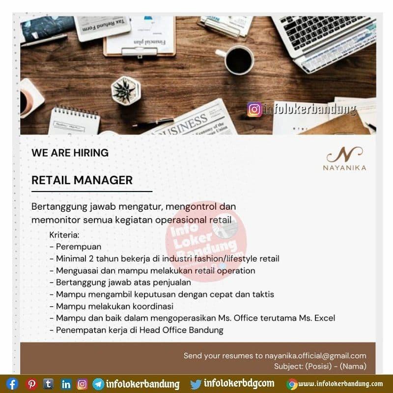 Lowongan Kerja Retail Manager Nayanika Bandung September 2021