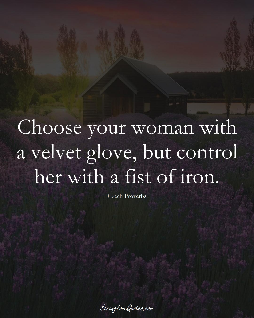 Choose your woman with a velvet glove, but control her with a fist of iron. (Czech Sayings);  #EuropeanSayings