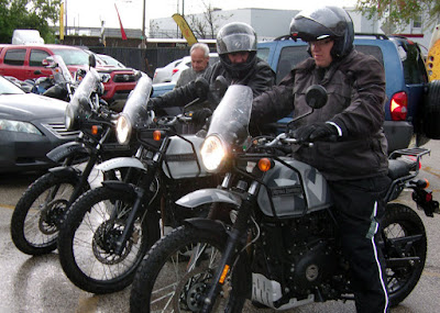 Three Himalayans with riders.