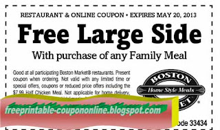 Free Printable Boston Market Coupons