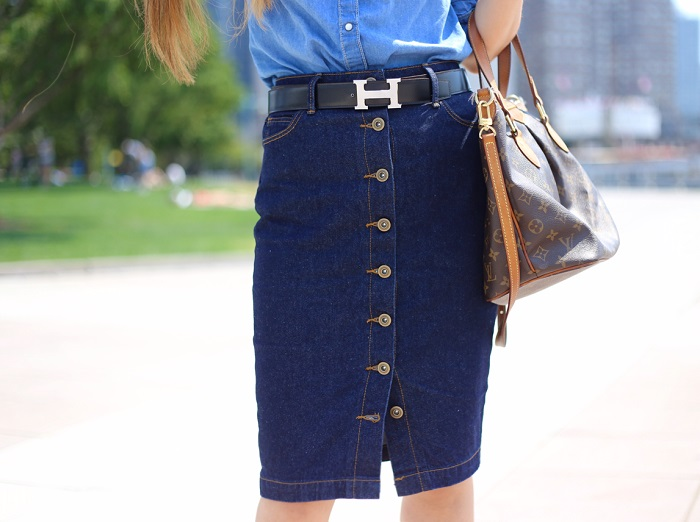 halogen chambray shirt, free people chambray shirt, hermes belt, just fab denim skirt, retro outfit, denim on denim outfit, lace up sandals, lace up tassel sandals, louis vuitton bag, baublebar earrings, street style, prada sunglasses, fashion blog, new york fashion blog