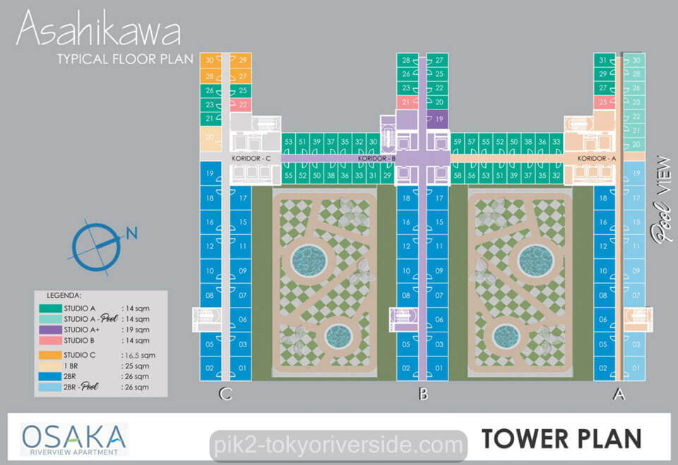 Site Plan Apartemen Osaka Riverview PIK 2