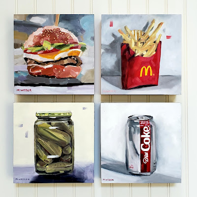 cheeseburger-french-fries-dill-pickles-and-diet-coke-oil-painting-by-merrill-weber