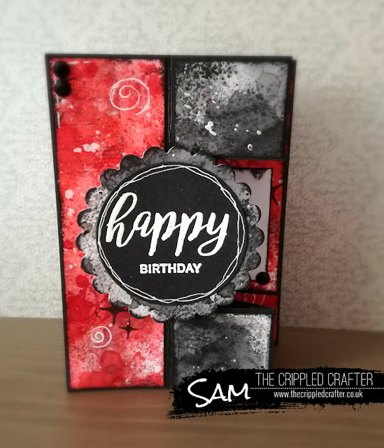 A6 Tri-Fold Shutter Card by Sam Lewis AKA The Crippled Crafter