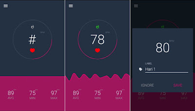 Menggunakan aplikasi heart rate sensor di Android