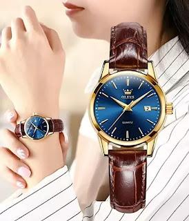 OLEVS Leather Classic Analog Quartz Watch
