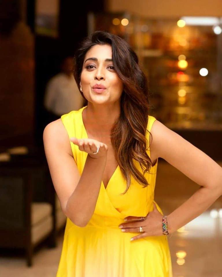 Shriya Saran Looks Hot in Yellow Outfit