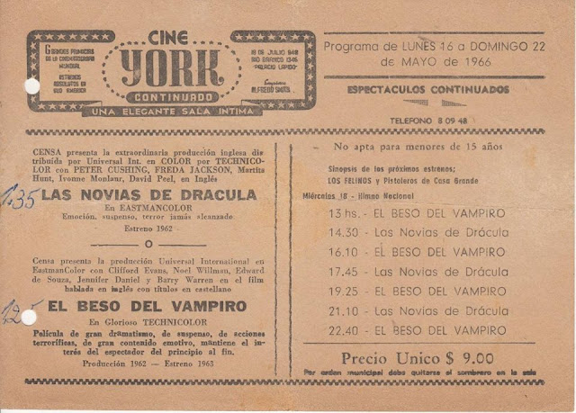 Cine York folleto de 1966