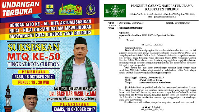 Meresahkan, PCNU Cirebon Tolak Kehadiran Bahtiar Nasir