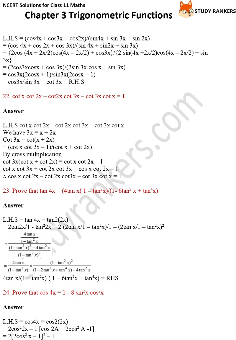 NCERT Solutions for Class 11 Maths Chapter 3 Trigonometric Functions 13