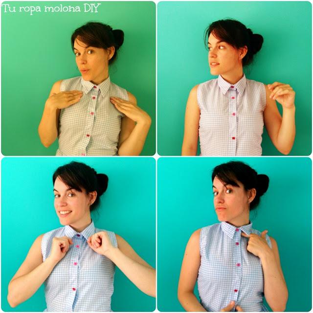 Detalle del cuello y botones