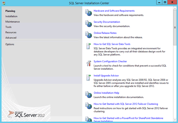 enter SQL Server installation center