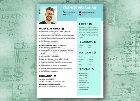 Modern blue box Modern resume template