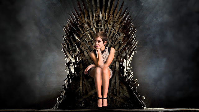 Emma Watson, the beneficiary of one literary empire, Photoshopped onto the prop of another (2011) Original photograph of Watson by Joel Ryan (November 12, 2010)