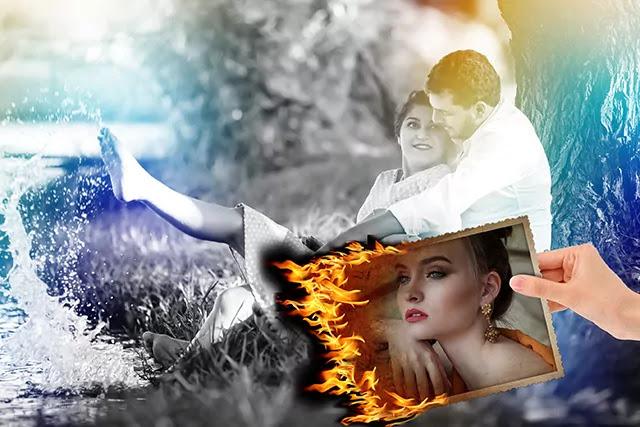 Burning Photo Image In Hand    Burning Photo Frame    Mockup PSD Frame    Psd photo frame free