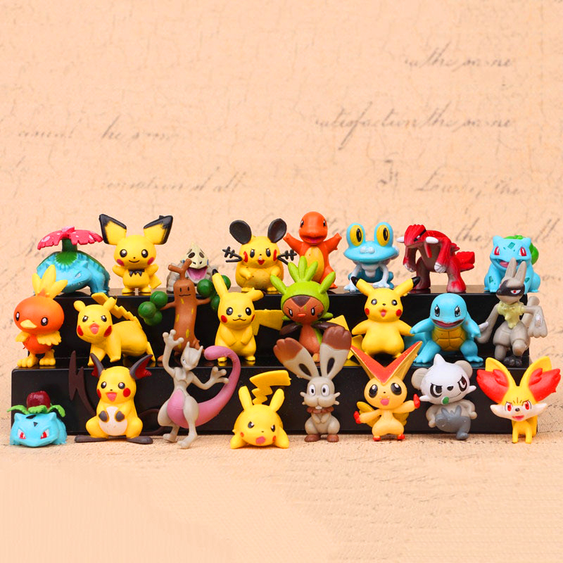 24pcs Pokemons Figures Pikachus Japan Anime Lots Mini toys