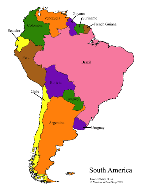 Printable Labeled Argentina Map