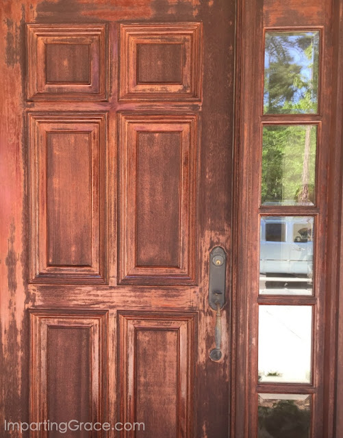 Sometimes things do not work out as we had hoped--like the refinishing of this door that didn't go well!