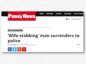 Jealousy kills indeed. An overseas Filipino worker (OFW) woman who had an illicit affair with another man decided to leave her husband and take her children with her was stabbed to death by her husband after a heated argument. The suspect surrendered himself to the authorities afterward. This is only one of many crimes of passion we often read in the news from time to time.    Ads     Sponsored Links  BACOLOD City – The man who allegedly stabbed his wife to death surrendered to the municipal police station of Isabela, Negros Occidental.  The 26-year-old Arnaiz Arevalo of Hacienda Alicante, Barangay Buhangin, Isabela turned himself in on Tuesday morning. He was accompanied by his uncle who was not identified, police said.  Arevalo is the suspect in killing his 26-year-old wife Angela around 2:20 p.m. on Sunday.  Angela died of multiple stab wounds on the body, a police report showed.  Arevalo said he hid in the sugar plantation but was advised by his relatives to surrender.  Angela had worked as an overseas Filipino worker in Dubai for two years. On Sunday, she went home to take her two children from Arevalo.  But they had a heated argument, which resulted in the stabbing.  Angela allegedly has an illicit affair with a man from Mandaluyong City, who she brought with her in Isabela, according to investigators.  Arevalo was detained in the lockup facility of the municipal police station. A parricide charge may be filed against him, police said.  Filed under the category of overseas Filipino worker,  illicit affair, stabbed to death, crimes of passion