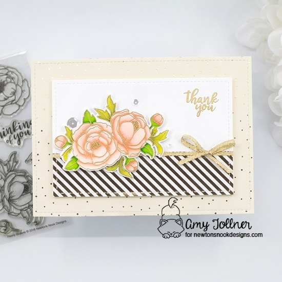 Thank you by Amy features Peony Blooms by Newton's Nook Designs; #inkypaws, #newtonsnook, #springcard, #cardmaking, #floralcards