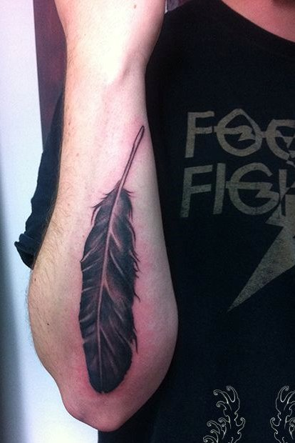 Feather Tattoo on Back of Forearm