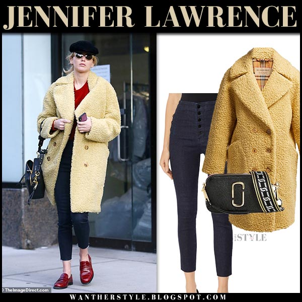 Jennifer Lawrence in yellow burberry teddy coat and skinny jeans celebrity winter street style december 19