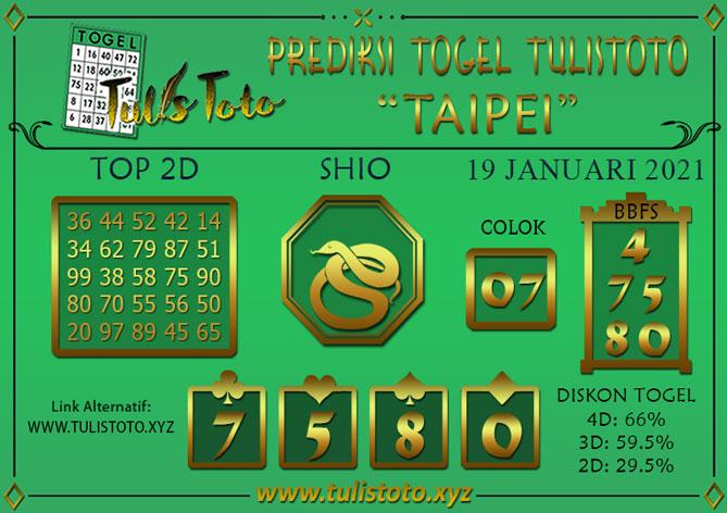 Prediksi Togel TAIPEI TULISTOTO 19 JANUARI 2021