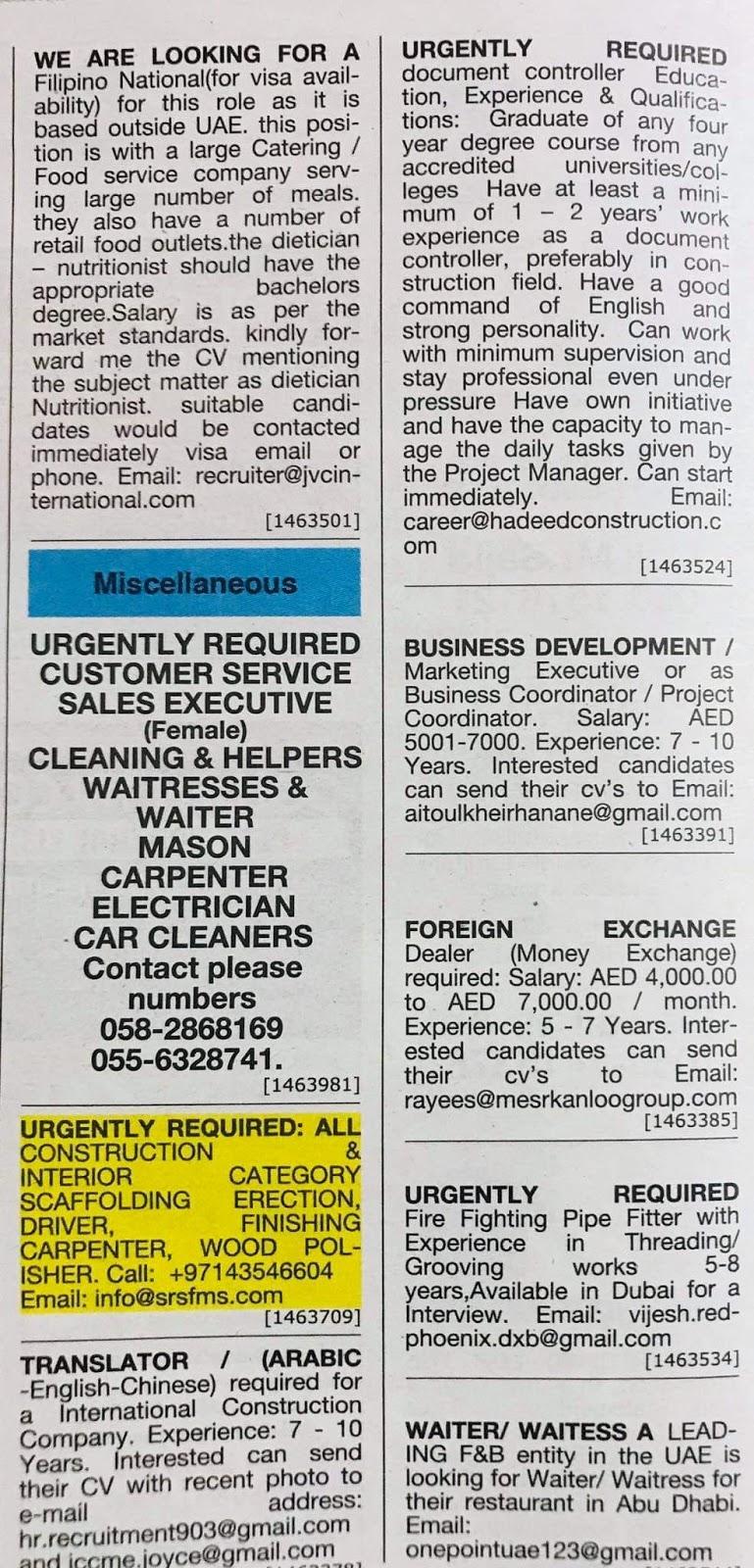 Need Staff for UAE Local Hiring Jobs Khaleej Times-UAE-1812128- Jobs