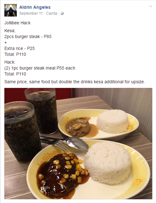 Jollibee burger steak foodhack