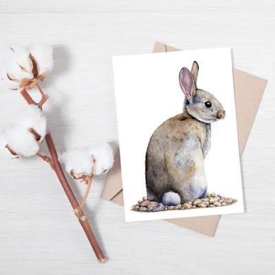 watercolour rabbit greetings card