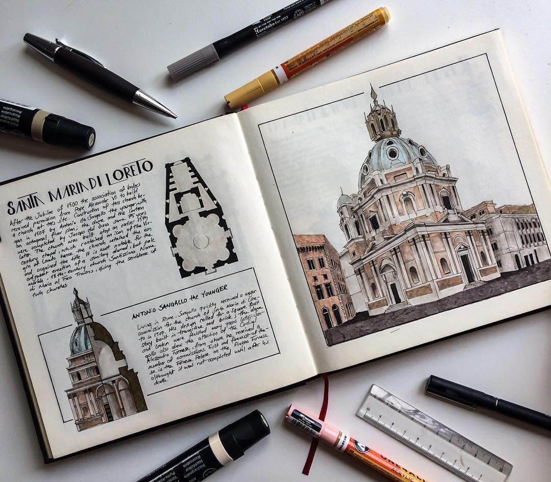 15-Santa-Maria-di-Loreto-Oğuzhan-Çengel-European-Heritage-Architectural-Drawings-www-designstack-co