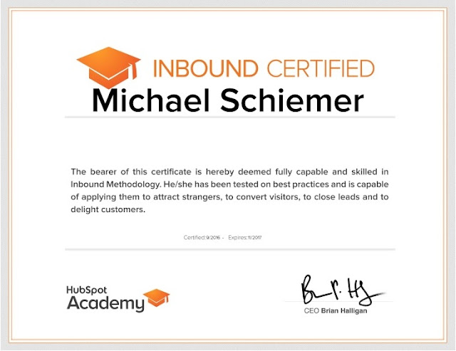 Mike Schiemer Michael J Schiemer HubSpot Academy Inbound Certification Marketing Guide Notes