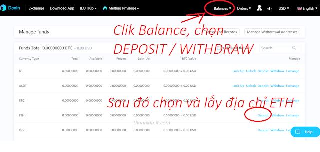 Get ETH address on Dcoin Exchange