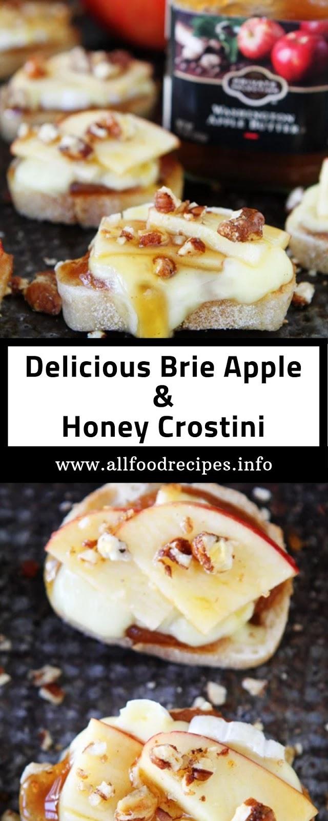 Delicious Brie Apple & Honey Crostini