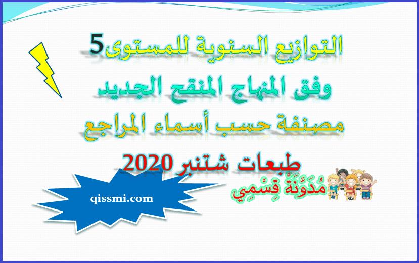 تجميعية التوازيع السنوي للمستوى الخامس ابتدائي - المنهاج المنقح 2020-2021