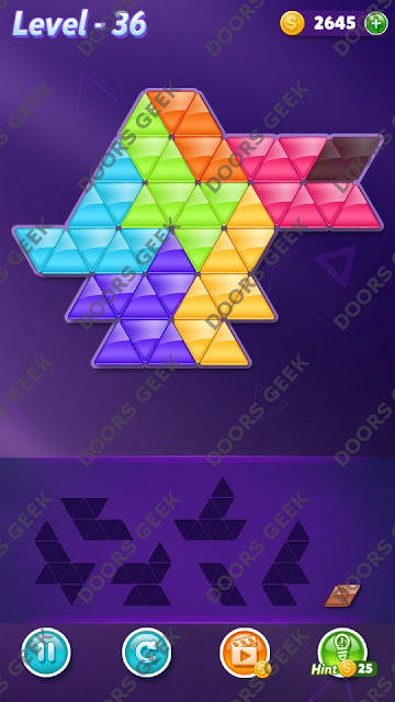 Block! Triangle Puzzle 7 Mania Level 36 Solution, Cheats, Walkthrough for Android, iPhone, iPad and iPod