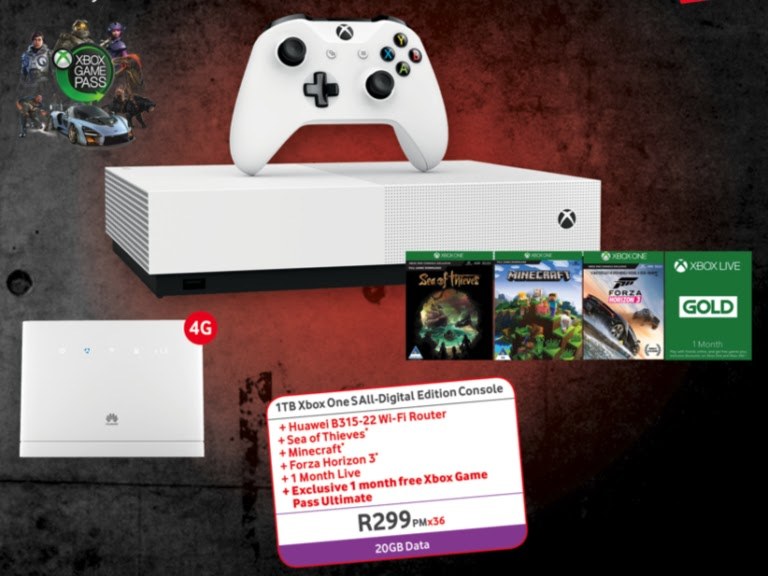 Xbox One 1TB + Huawei B315 + 3 Games + 1 Month of Xbox Game Pass – R299pm x 36