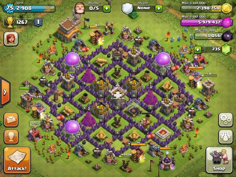 clash of clans rathaus level 8 farming base