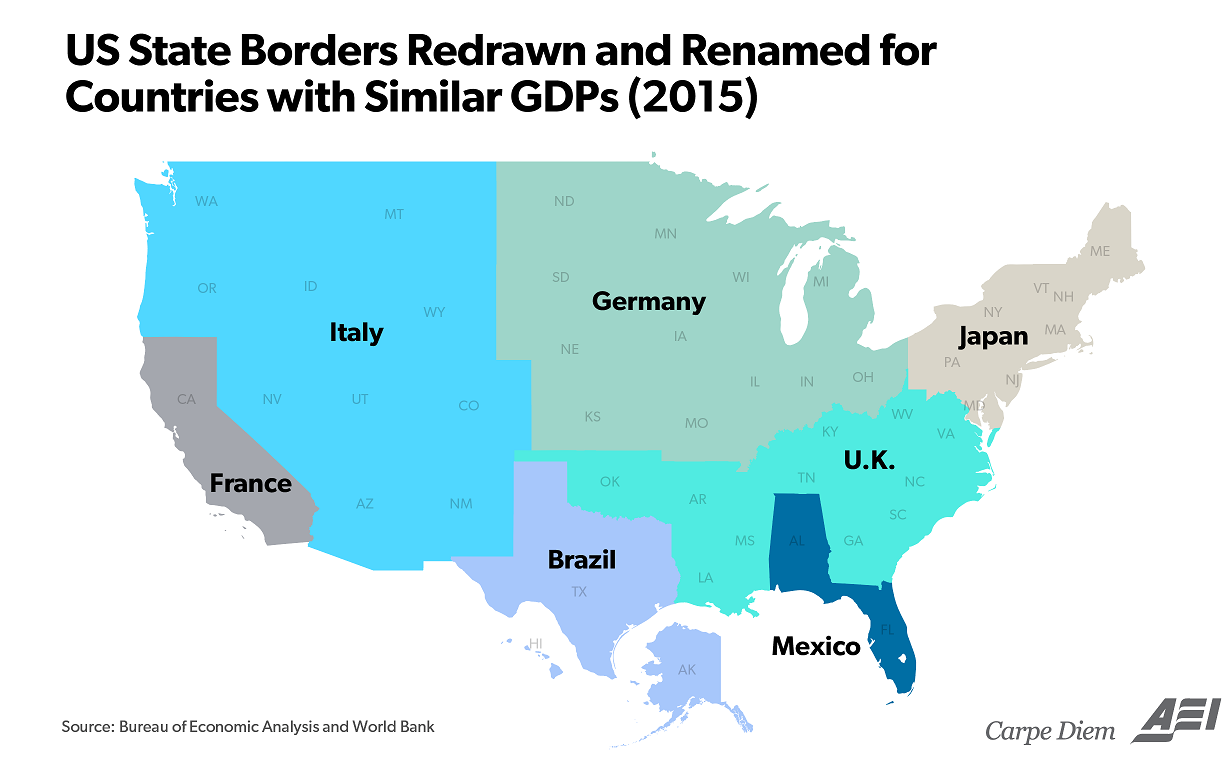 U.S. state borders redrawn and renamed for countries with GDPs