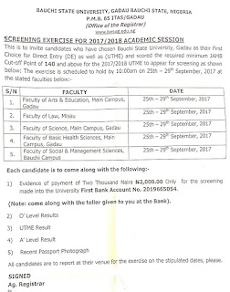 Bauchi state university post utme, direct entry and jamb cut off point