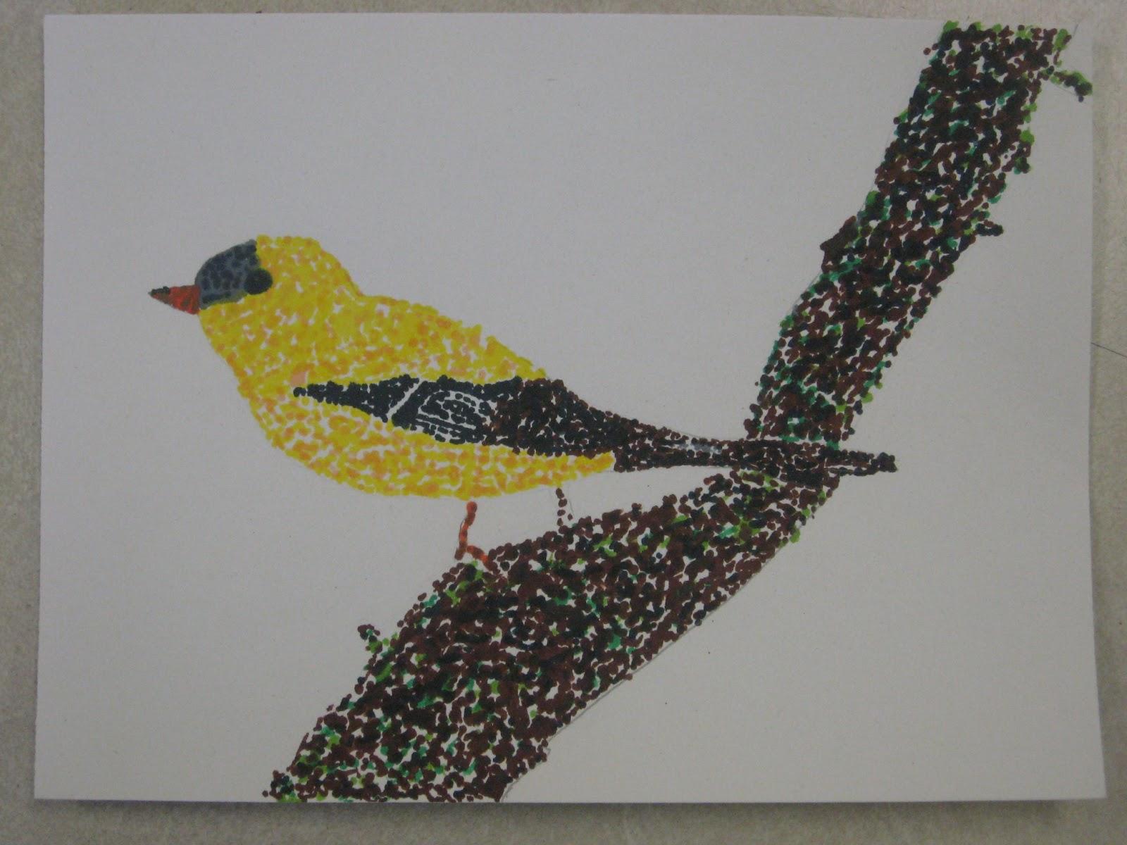Miss Young S Art Room 5th Grade Pointillism Birds