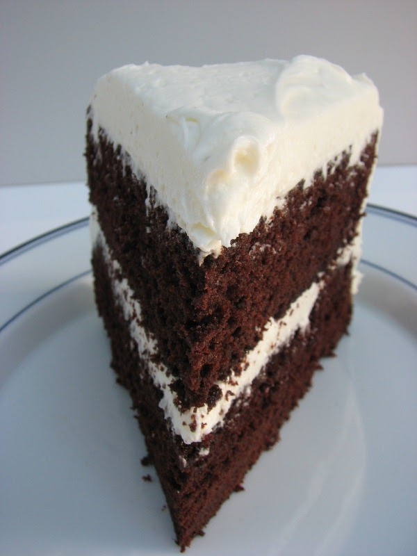 Heidi Bakes Dark Chocolate Layer Cake With White Icing