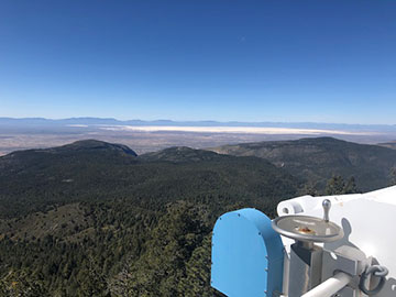 The rearview from the 2.5-meter observatory shows White Sands in background (Source: Palmia Observatory)