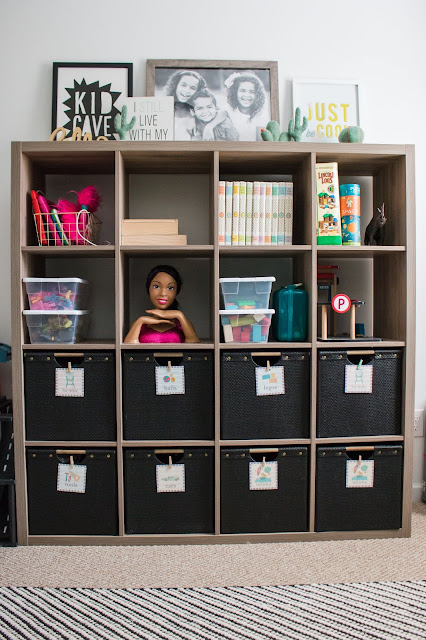 toy storage using the ikea kallax in a small playroom
