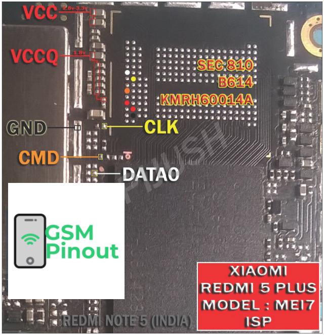 Xiaomi Redmi 5 Plus MEI7 ISP (EMMC) Pinout For EMMC
