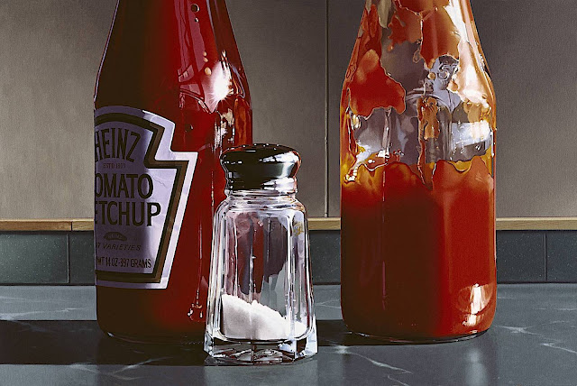 a Ralph Goings realism painting of restaurant condiments at the counter