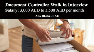 Document Controller Recruitment in a Well Reputed Construction Company Based in Abu Dhabi